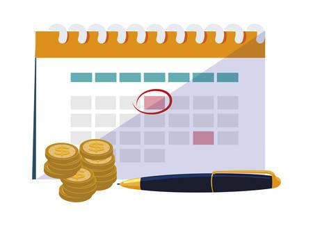 coins money with calendar and pen vector illustration design