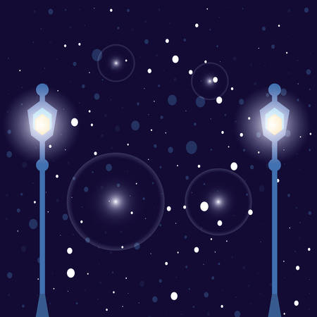 night sky with lights and lamps vector illustration design