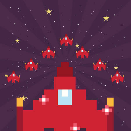 spaceship pixel level video game retro vector illustration