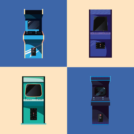 arcade machine video game retro collection vector illustration design Illusztráció