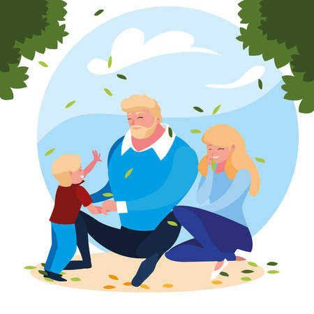 parents with son family in scene natural vector illustration design