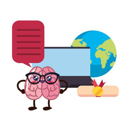brain cartoon laptop education world diploma vector illustration