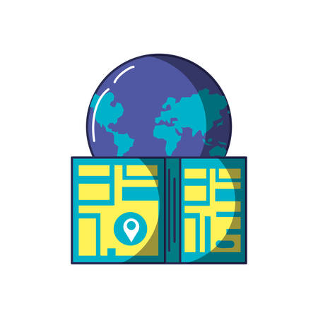 map guide with pin location and world planet earth vector illustration design  イラスト・ベクター素材