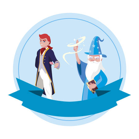 prince charming and wizard of tales characters vector illustration design Foto de archivo - 134547102
