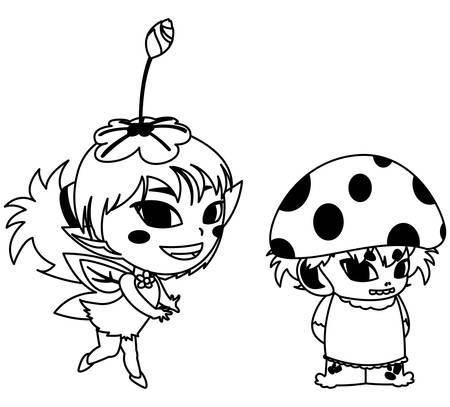beautiful magic fairy and fungu elf characters vector illustration design Foto de archivo - 134547160