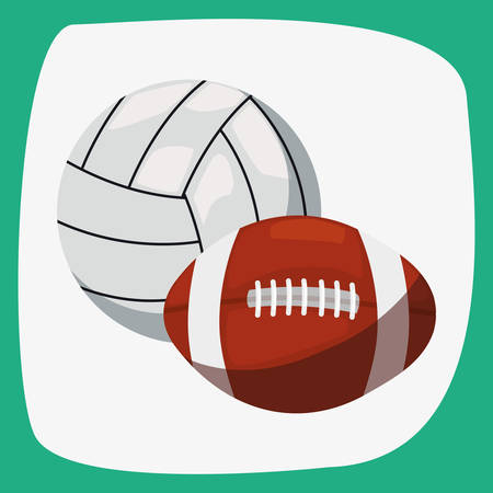 volleyball and rugby ball sport vector illustration design