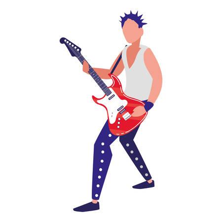 rocker man playing guitar electric character vector illustration design Ilustracja