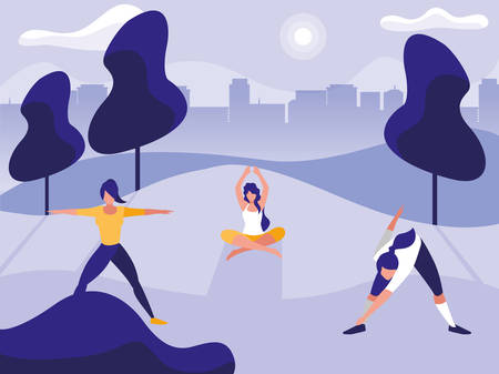 young women practicing outdoor gym vector illustration design
