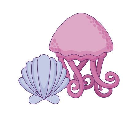 cute jellyfish with seashell vector illustration design Foto de archivo - 134536830