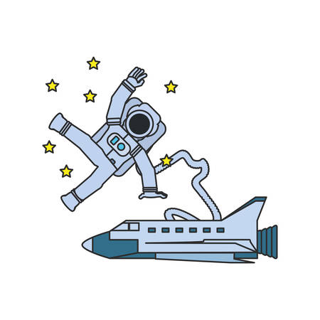 astronaut suit with space shuttle and hose vector illustration design