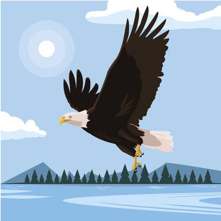 beautiful bald eagle flying in the lake scene vector illustration design Иллюстрация