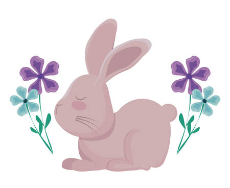 cute rabbit with flowers decorated vector illustration design Illustration