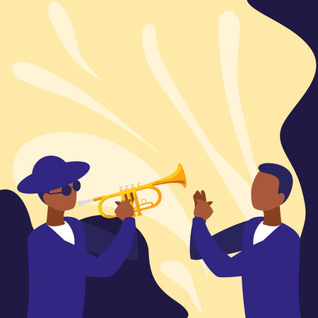 couple of musicians characters vector illustration design