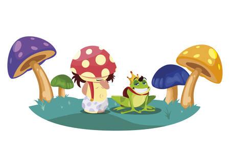 toad prince and fungu elf in fungus garden vector illustration design
