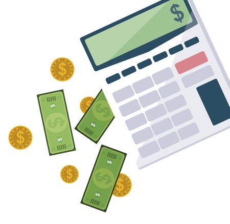 office supplies with calculator and set items vector illustration design Foto de archivo - 134547596