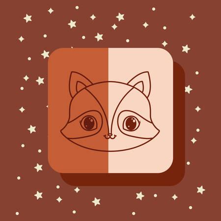 cute kawaii raccoon animals card vector illustration