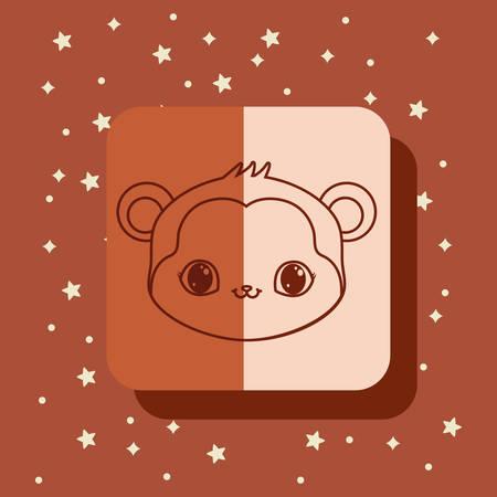 cute monkey kawaii animals card vector illustration
