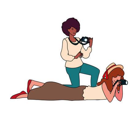 Women with camera design, Device gadget technology photography equipment digital and photo theme Vector illustration Illusztráció