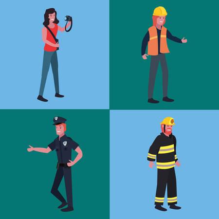 people profession labour day set vector illustration Ilustração