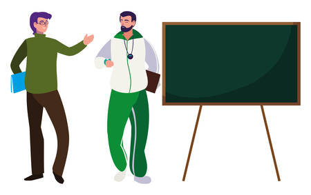 teachers classic and sports with chalkboard vector illustration design