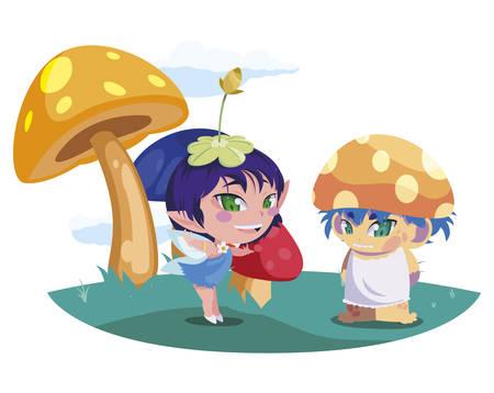 beautiful magic fairy and fungu elf in the garden vector illustration design