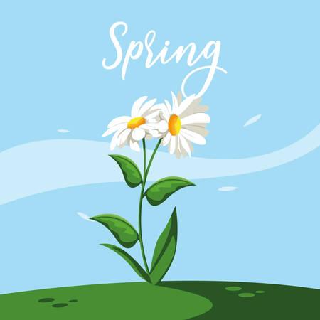 beautiful spring flower in grass nature scene vector illustration design 일러스트