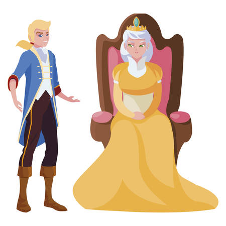 prince charming with queen on throne characters vector illustration design Ilustração
