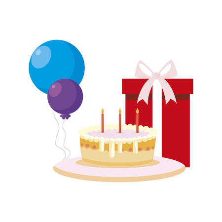 gift box present with balloons helium and sweet cake vector illustration design