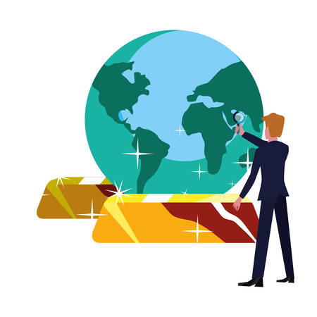 businessman world gold bars bank vector illustration vector illustration Standard-Bild - 134547713