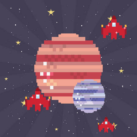 spaceship battle pixel background video game retro vector illustration
