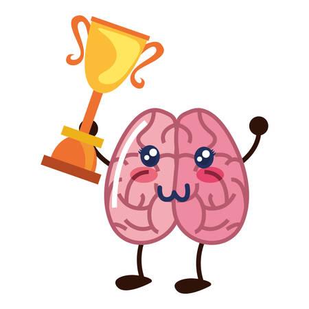brain cartoon award trophy creativity vector illustration