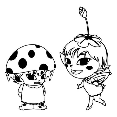 beautiful magic fairy and fungu elf characters vector illustration design Ilustração