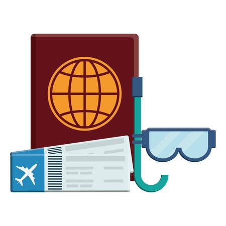 passport document with tickets flight and snorkel vector illustration design