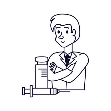 doctor professional with injection and bottle of medicine vector illustration design