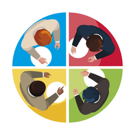 businessmen group teamwork with infographic view vector illustration design Illusztráció