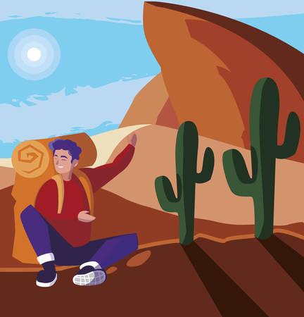 adventurous man with travelbag in the desert vector illustration design  イラスト・ベクター素材