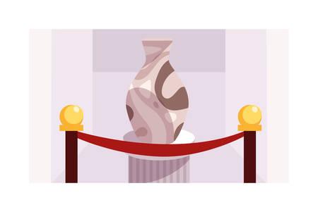 Exposición de esculturas contemporáneas sobre fondo blanco, diseño de ilustraciones vectoriales