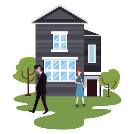 couple in the garden house activities vector illustration Иллюстрация