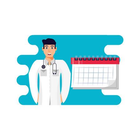 doctor professional with calendar reminder vector illustration design