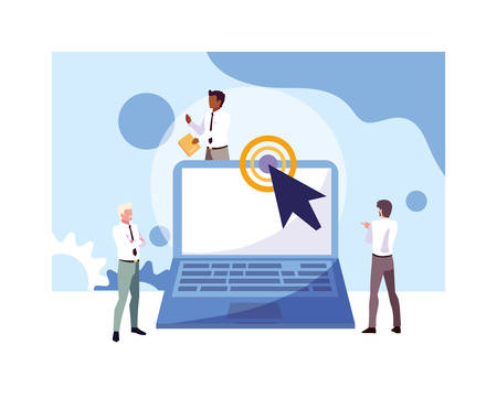 businessmen with laptop, meeting on global planning and marketing research vector illustration design Zdjęcie Seryjne - 134559793