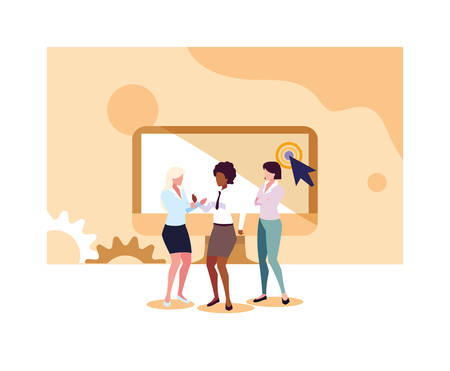 businesswomen in the work office, business professional woman vector illustration design