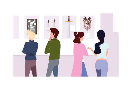 group of people in contemporary art gallery, exhibition visitors viewing modern abstract paintings vector illustration design Illustration