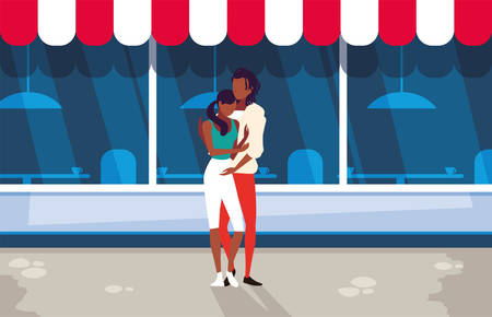 couple of people in love standing with background store vector illustration design