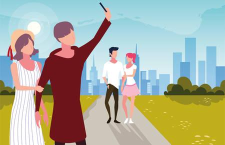 couples of people in love walking in park vector illustration design Illusztráció
