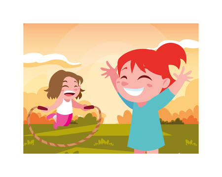 girls smiling and playing with skipping rope vector illustration design Ilustrace