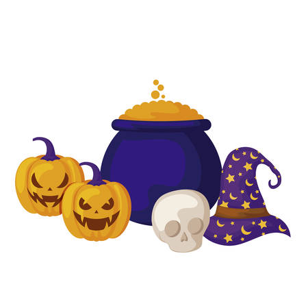 pumpkins with hat witch and icons halloween vector illustration design Foto de archivo - 134550567