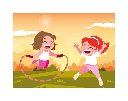 girls smiling and playing with skipping rope vector illustration design Illustration