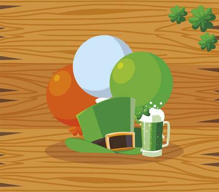 lemprechaun tophat with beer and balloons helium vector illustration design Illusztráció