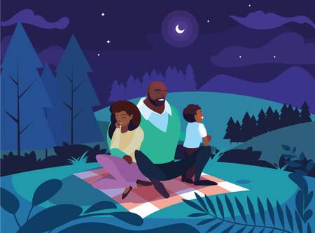afro parents with son family in night landscape natural vector illustration design Illusztráció