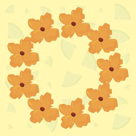 floral wreath flowers decoration summer vector illustration